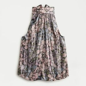 Collection tie-neck top shimmering floral jacquard